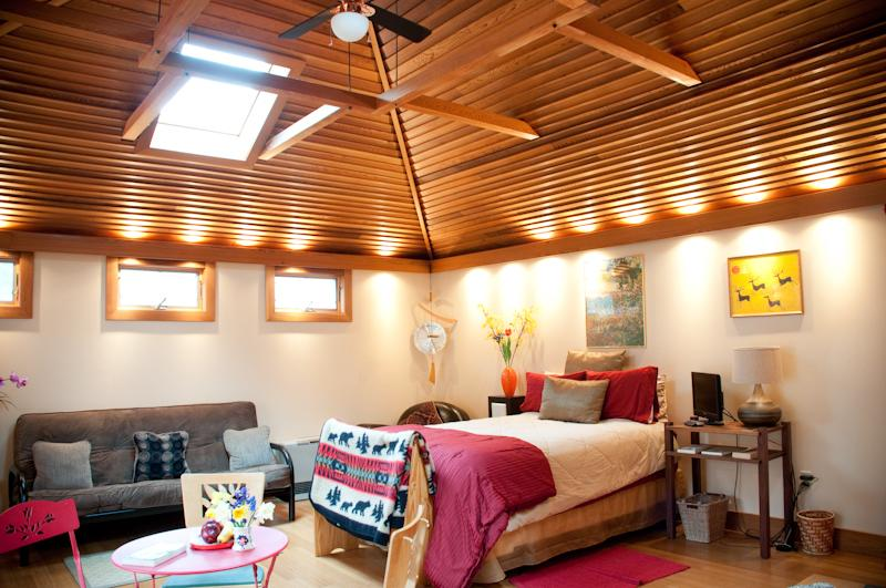 The Studio Cottage with bamboo floors, cedar cathedral ceilings, and skylights to the mountains