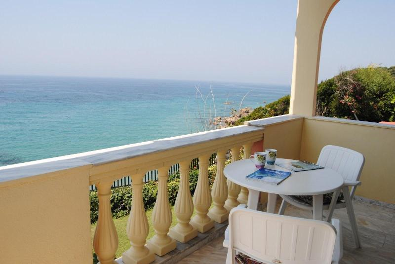 View from the upstairs balcony - Seahorse Bay, Halikouna, south-west Corfu sleeps 8 - Corfu - rentals