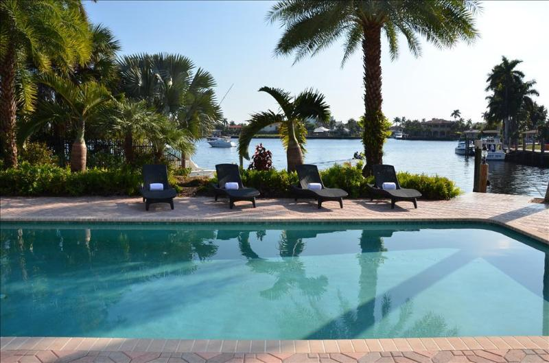 Spectacular Heated Pool Area Offering Breathtaking Unobstructed Water Views.. - Casa Santa Barbara STUNNING 5BR/4.5 BA WATERFRONT HEATED POOL ESTATE! - Pompano Beach - rentals