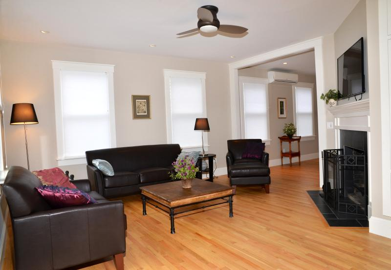 New Living Room with Custom Fireplace and Ceiling Fan (Edgartown Rental)