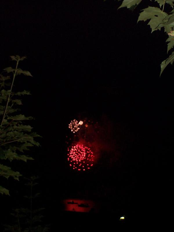Fire works viewed from the main dek