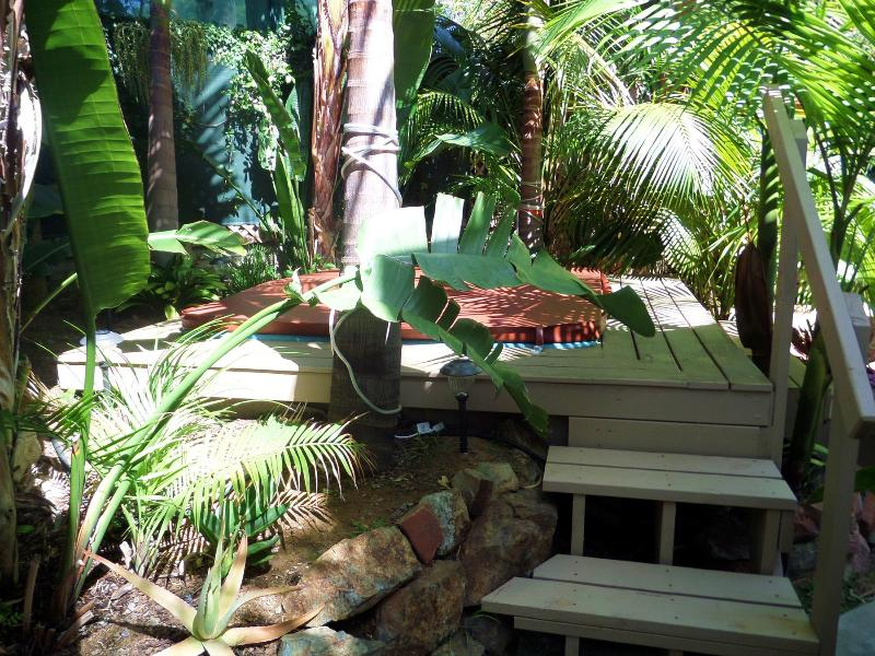 Your steps to the jacuzzi from the walkway