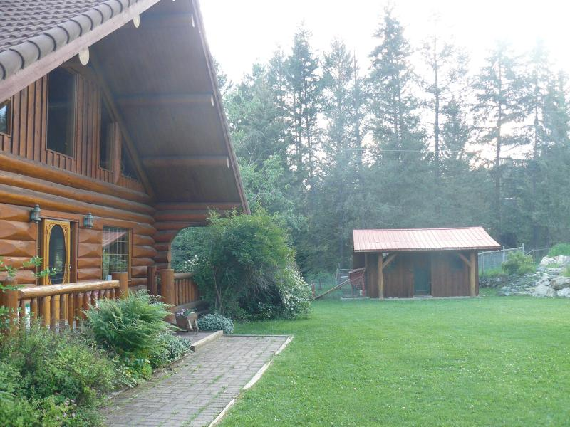 Main log house looking toward the potters shed