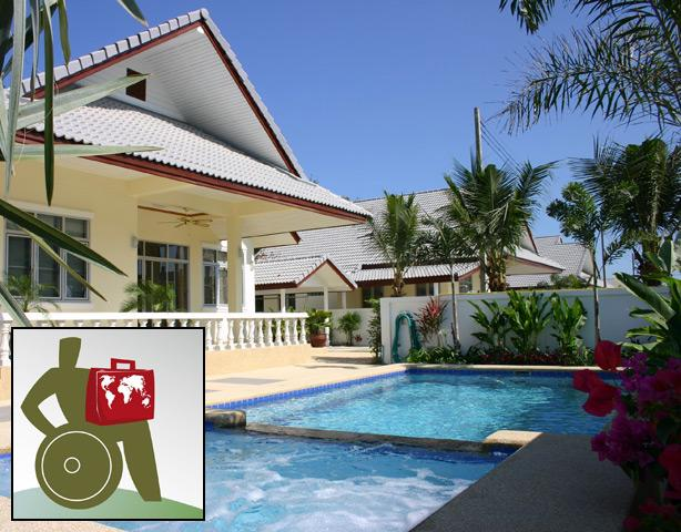 Pool villa, wheelchair accessible, 3 bedrooms, 2 bathrooms, living and kitchen, porch, terrace