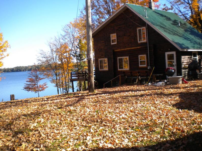 view of cottage from the yard.  Picture was taken in the fall t
