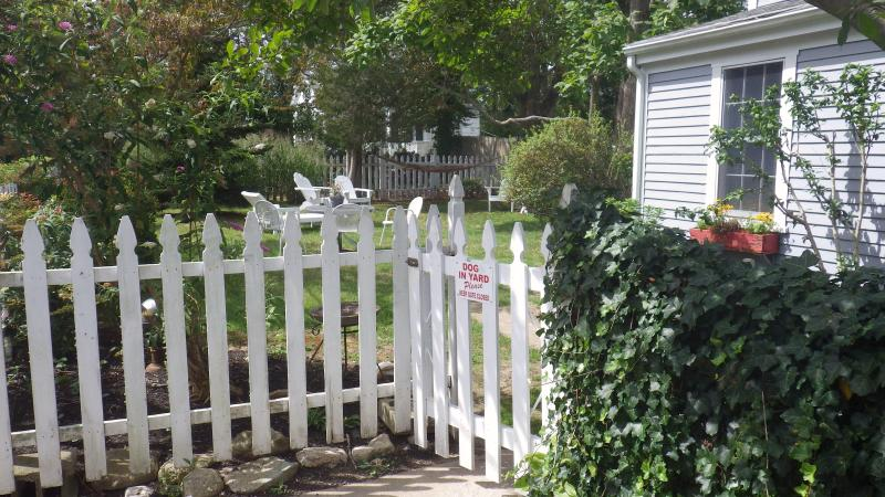 Picket fence encloses the yard and makes it pet safe.