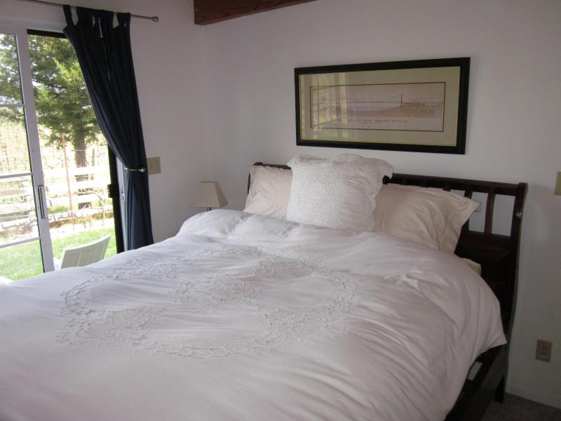 Vineyard View Bedroom with door out to private yard and Vineyard Views!