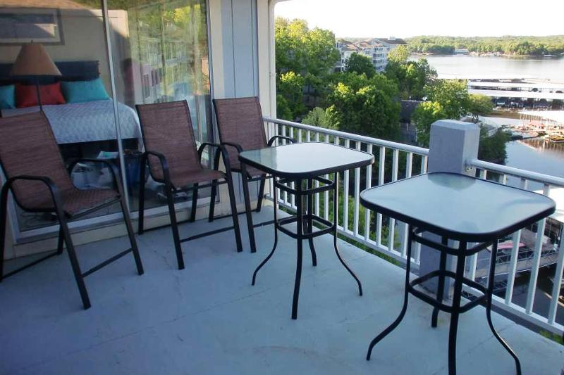 Deck Dining seats 8 - Bar height table and chairs with awesome view of water