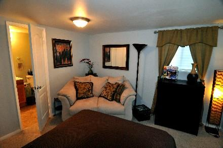 Relaxing decor with convience of bathroom right off the bedroom.