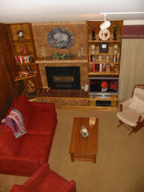 Cozy conversation area features gas fireplace and TV
