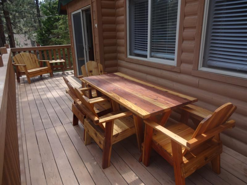 Enjoy the beautiful outdoors on our new redwood furnished deck