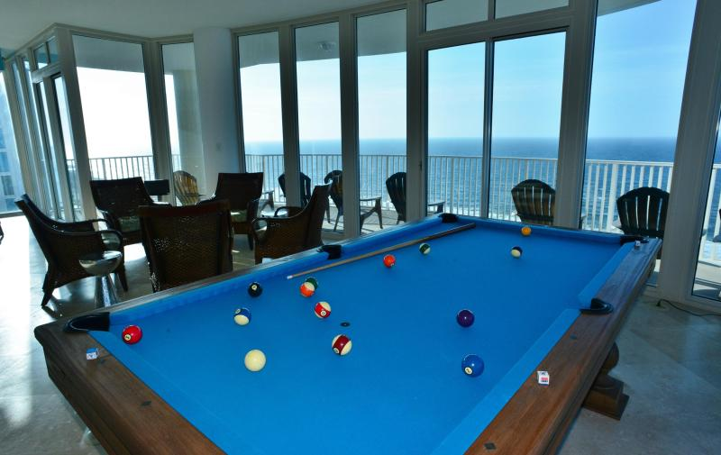 Shoot pool suspended in air in the penthouse salon - overlooking the Gulf!