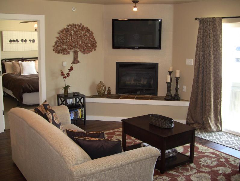 Fantastic living space complete with mounted plasma TV and a gas fireplace.