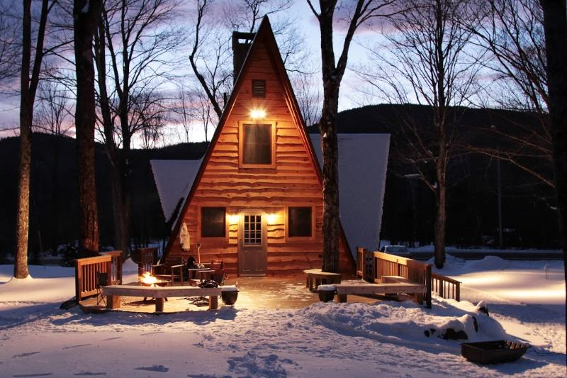 Great Brook Cottage on a serene winter evening