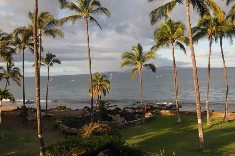 Lanai morning view-enjoy your coffee or tea, while watching whales, turtles, and rays.