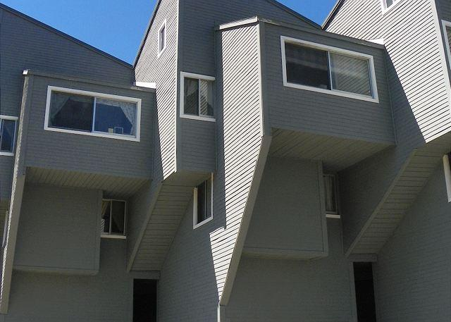 Exterior of Condo Building at this Waterville Estates Vacation Rental in the White Mountains of New Hampshire.