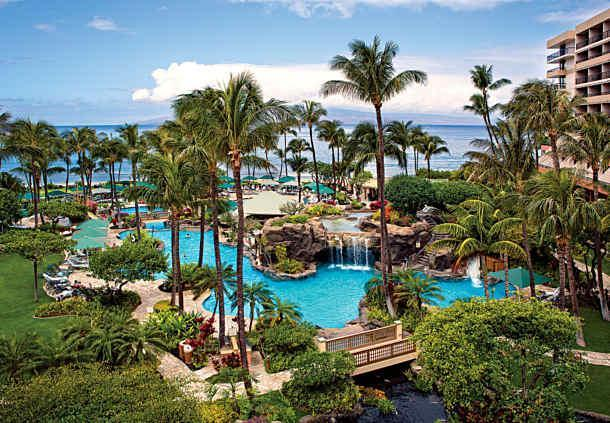 Marriott's million dollar pool with waterfalls, slide, pool bar, cave, beachfront, spas, kids area..