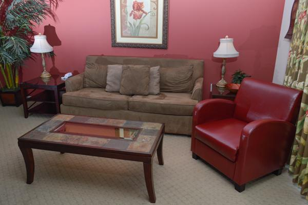 Comfy seating in a spacious living area