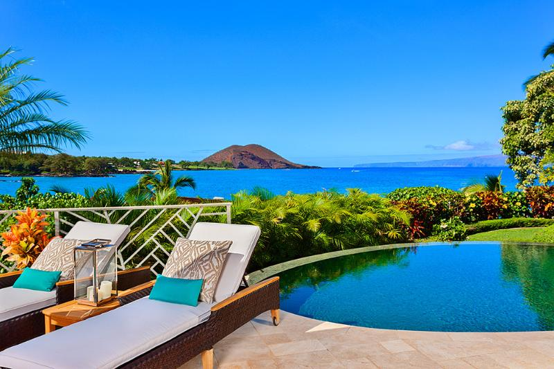 Your View From Coral Gardens Makena Looking Towards Makena Bay, Maluaka Beach, Big Beach. Poolside Chaise Lounges and Spectacular Ocean Views!