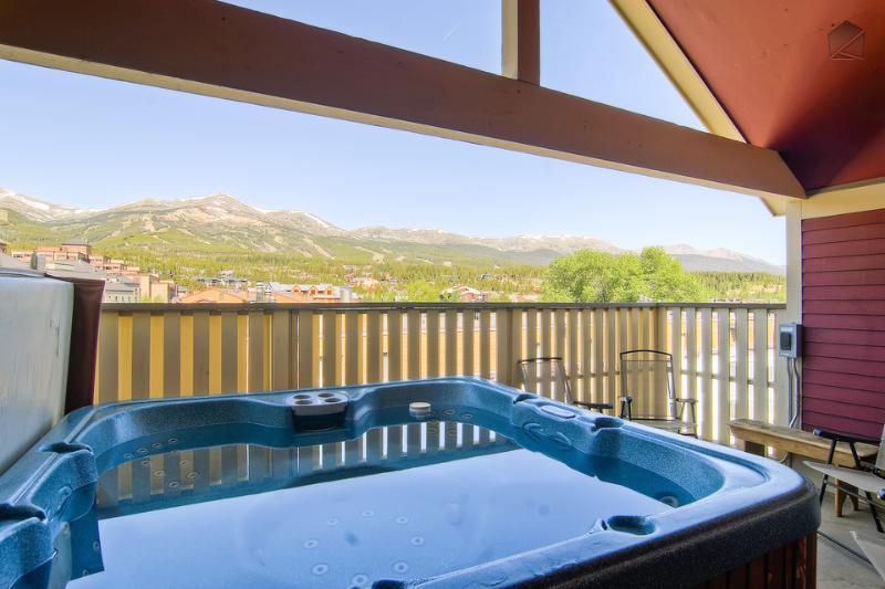 One of the best features of Four Peaks is the view of all ski area peaks from the hot tub.