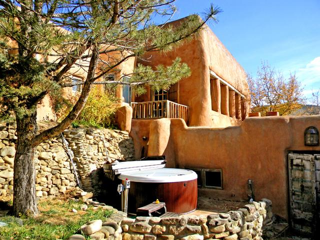 Magnificent private setting for shared hot tub as viewed from semi enclosed patio nook