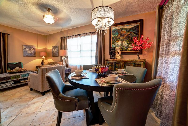 Dining and living areas.