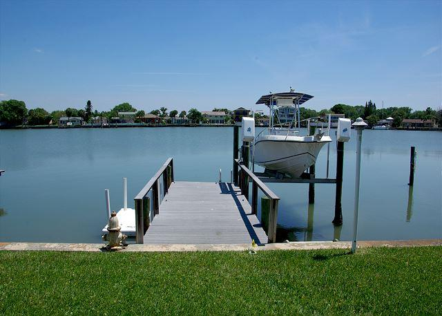 Private Dock with boat davit and spectacular water view