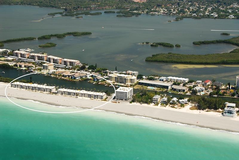 Aerial view of Fisherman's Cove Condo at Turtle Beach - On Siesta Key Florida