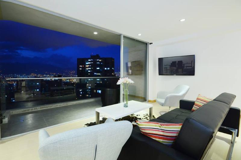 Enjoy the fantastic view of the city from the modern living room