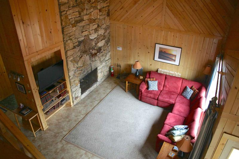 Beautiful pine paneling throughout the house. Vaulted ceiling. Amazing fireplace.