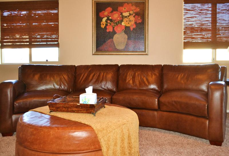 Living Room with large leather sectional