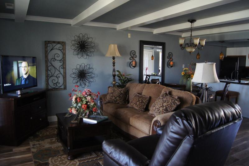 Living room with HDTV and Sleeper Sofa