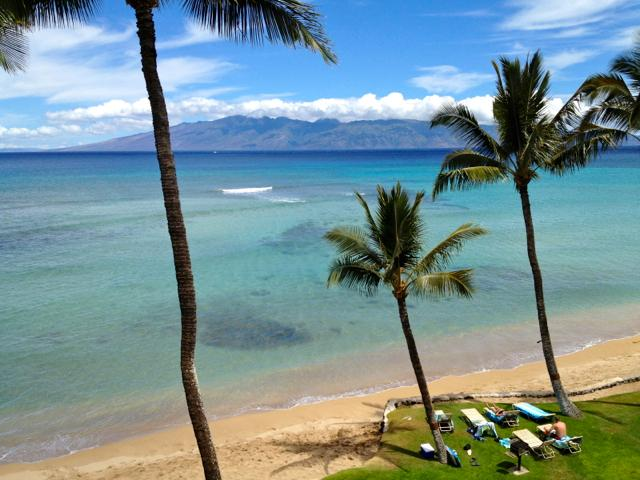 View of the beautiful Island of Molokai from your lanai. Lounge directly oceanside.