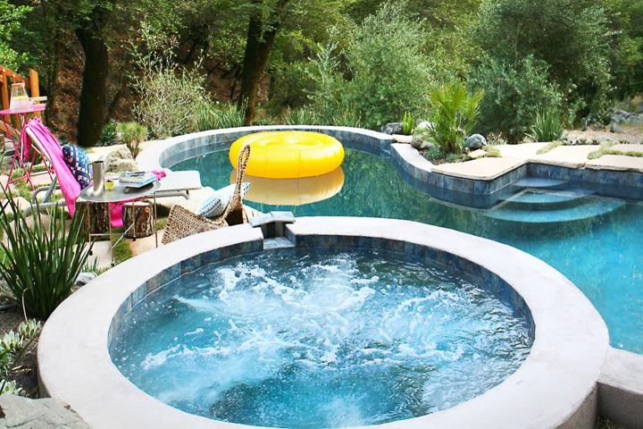 Solar heated pool April-October. Hot tub year round.