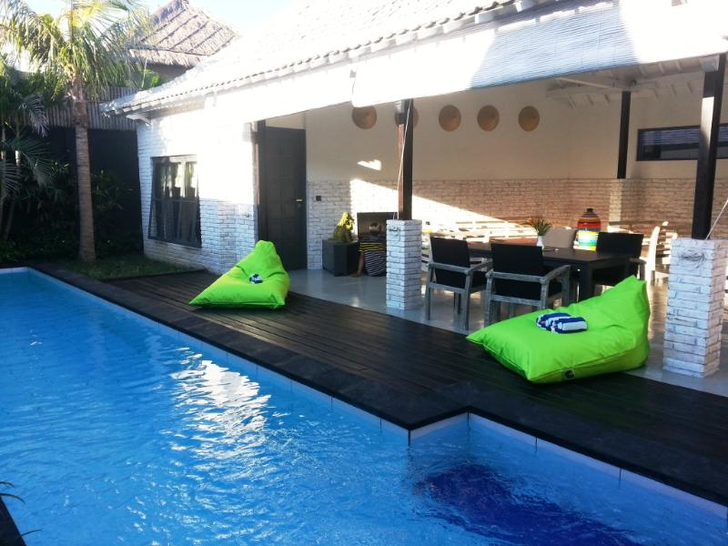 Large private swimming pool and open villa