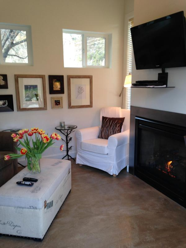 Living Room with HDTV and Gas Fireplace