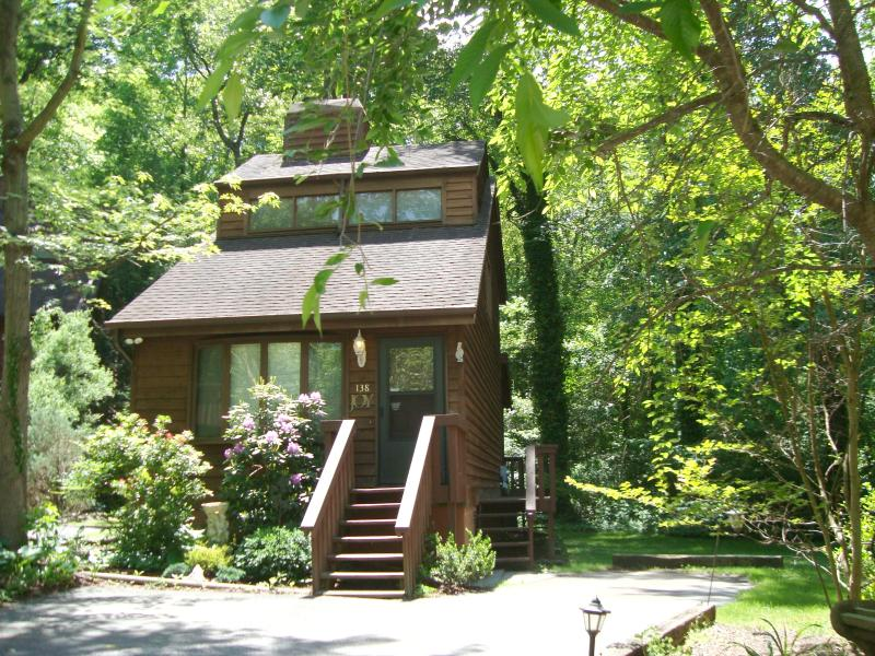 Romantic Joy Chalet: 1 BR/1.5BA/Cathedral Ceiling/Gas Log FP/Hot Tub/Full Kitchen/Forest Back Yard