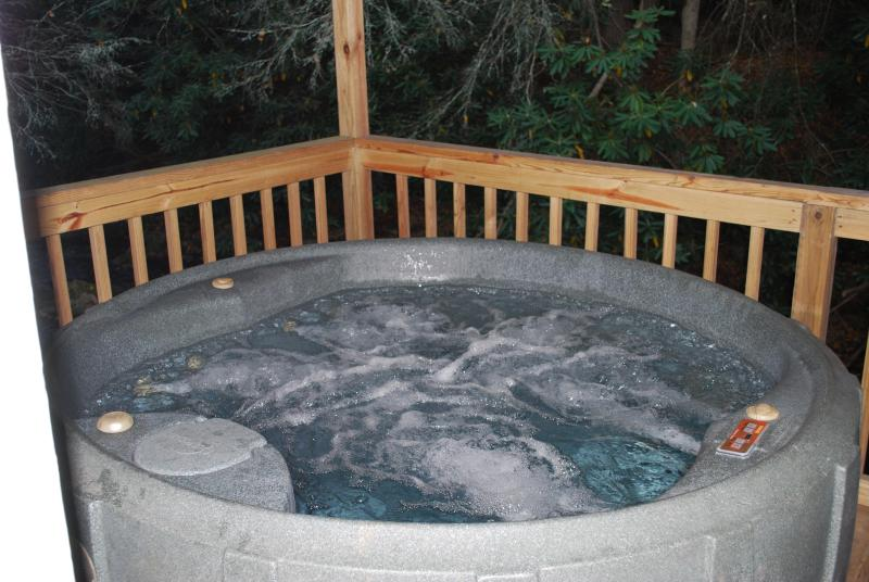 Listen to the creek as you soak in the tub