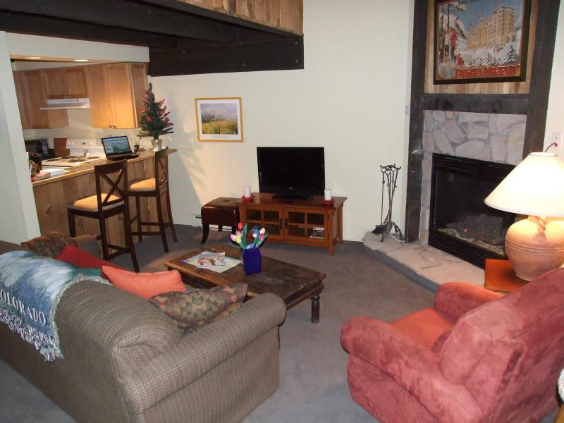 Relax in our cozy living room, warm by the fire or cook great meals in our full kitchen