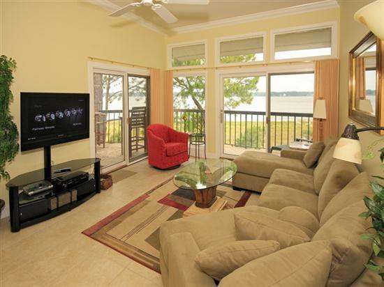 Living Room with Views of the Calibogue Sound from 1898 Beachside Tennis - 1898 Beachside Tennis - Hilton Head - rentals