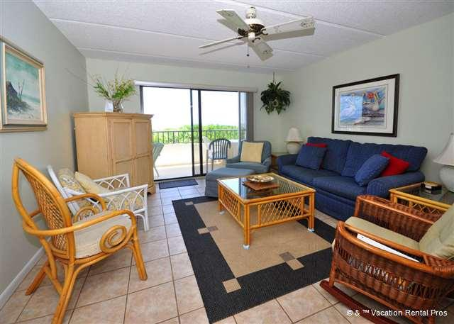 Our spacious living room is great for groups - Windjammer 107 Luxury Beach Front, Newly Updated, Elevator, HDTV - Saint Augustine - rentals