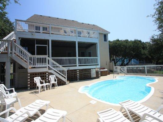 Back Exterior and Private Pool, Hot Tub, Grilling Area - MB53: Gone to Carolina II - Corolla - rentals