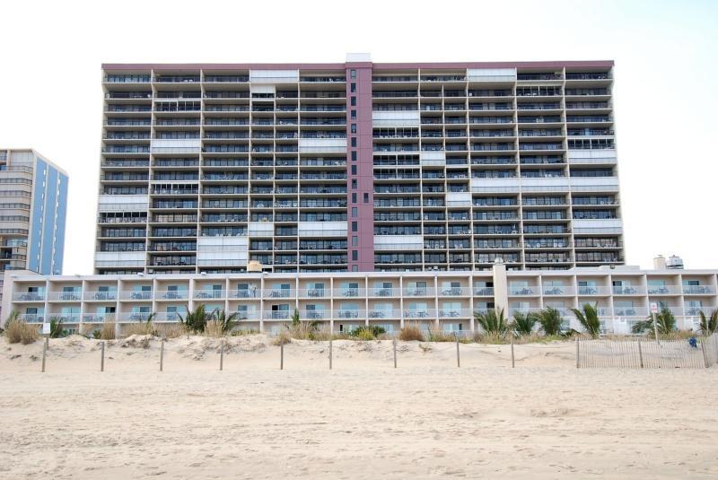 View of the resort from the beach.