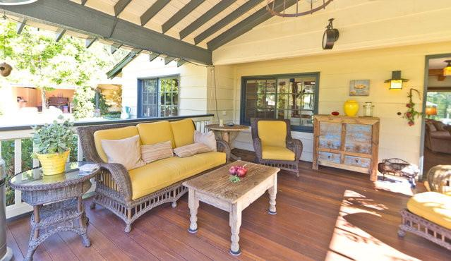 Front patio with mahogany deck