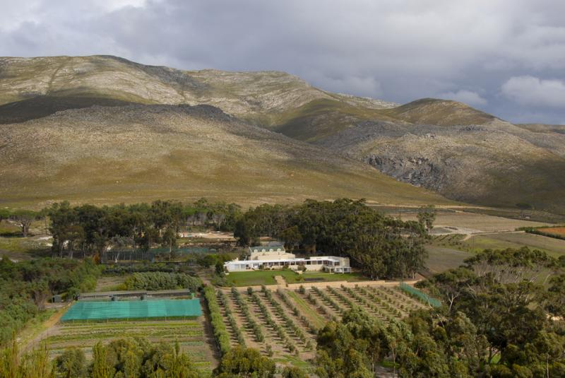 Aerial shot of the villa and surrounding farm.