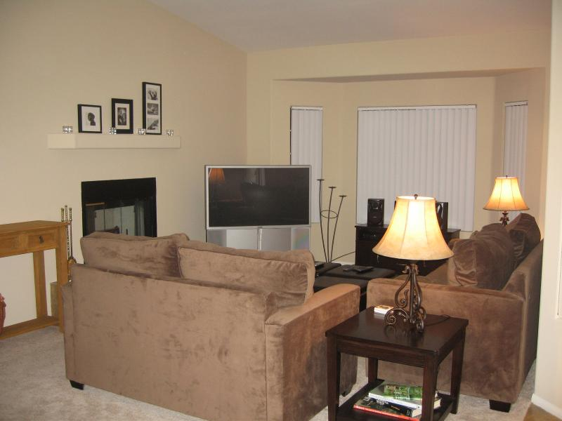 "Living Room - Queen Sofa, Love Seat, 50"" Sony HDTV, Stereo, DVD, VCR, Fireplace"