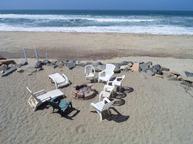 Closer view of Fire Pit on private beach