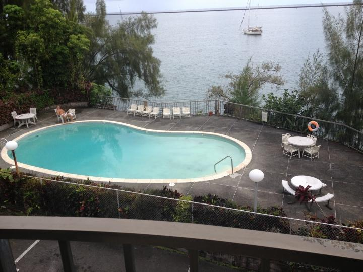 Outdoor pool seen from balcony