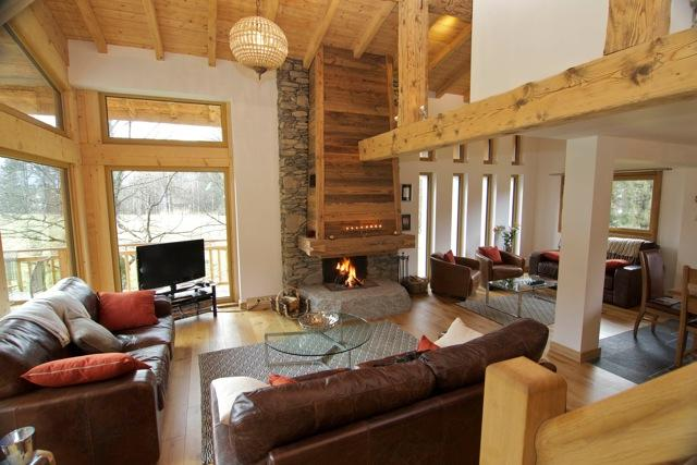 Open Plan Living Area with double height windows to enjoy views of Mont Blanc
