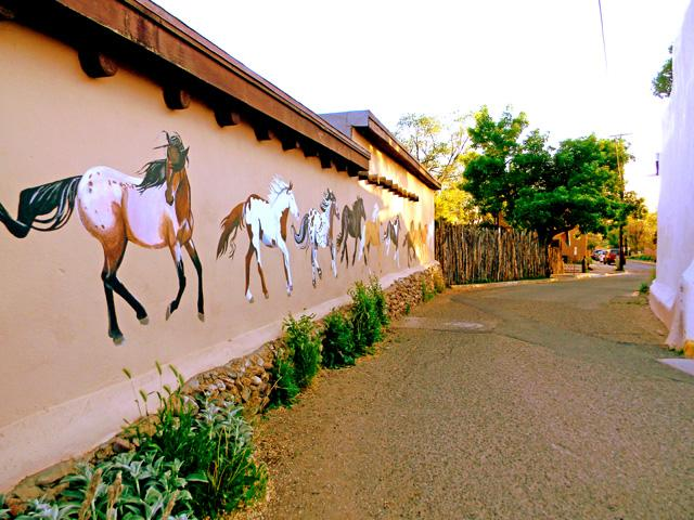 The 'Painted Poney Wall' entering the one way only 'famous, historic Ledoux Street'- background 'coyote fence' encloses the yard